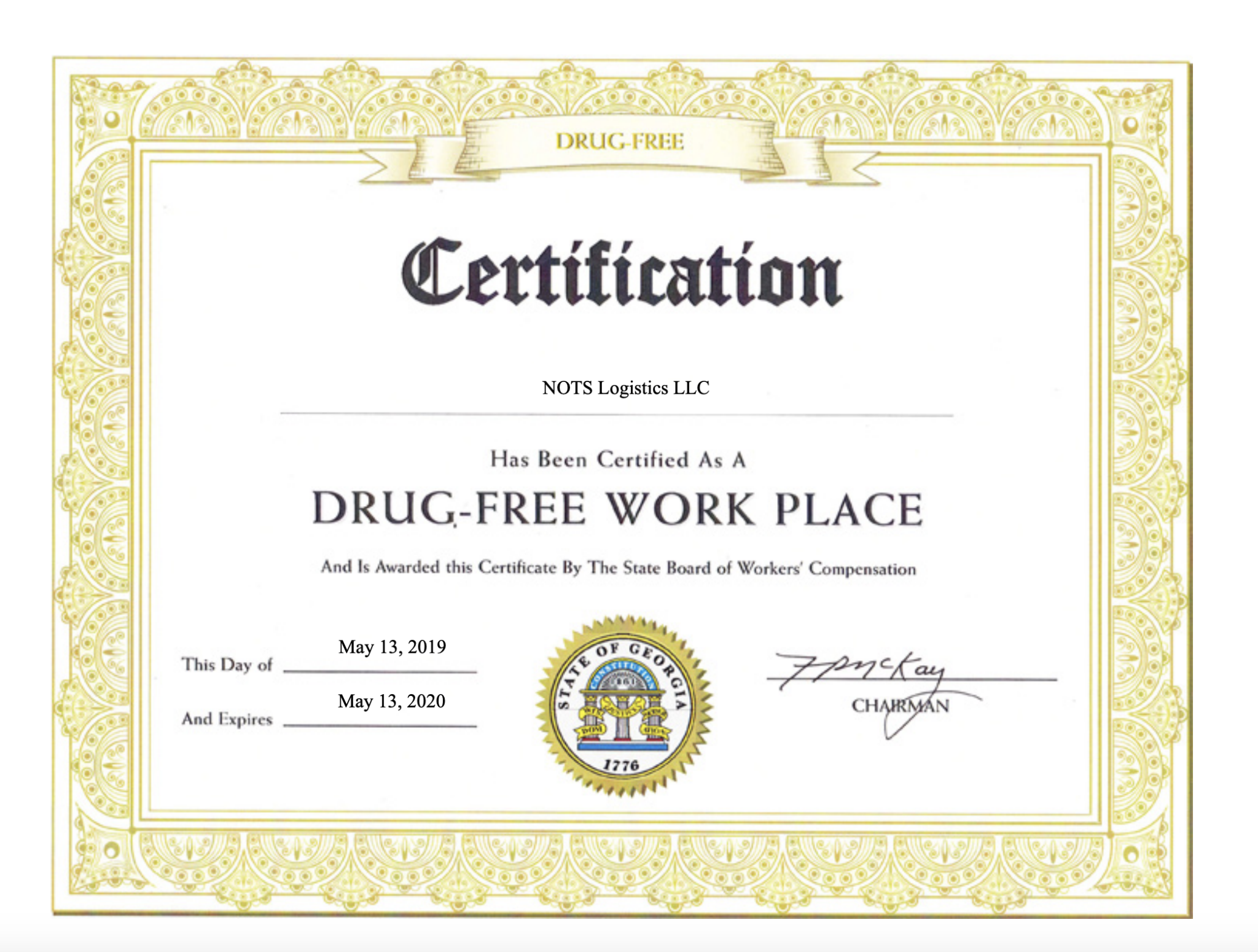 NOTS Logistics Receives Certification for Drug-Free Work Place